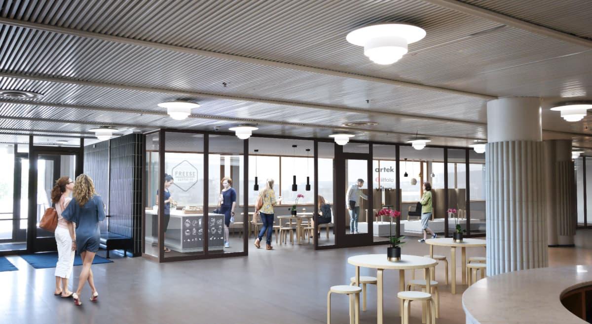 Finlandia-taloon tulevan myymäläkahvilan alustavan suunnittelun havainnekuva.