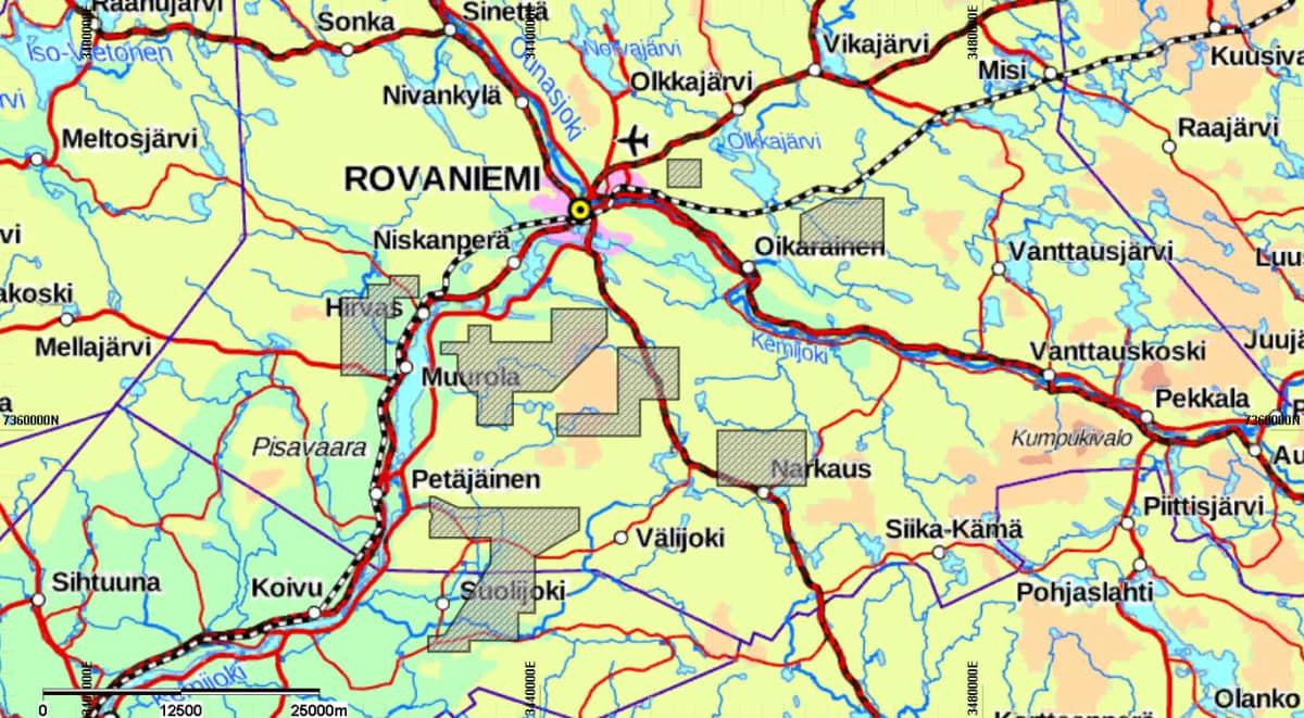 Latitude 66 Cobalt kerää karttaan tummennetuilla alueilla maaperänäytteitä kesän aikana Rovaniemellä ja Tervolassa.