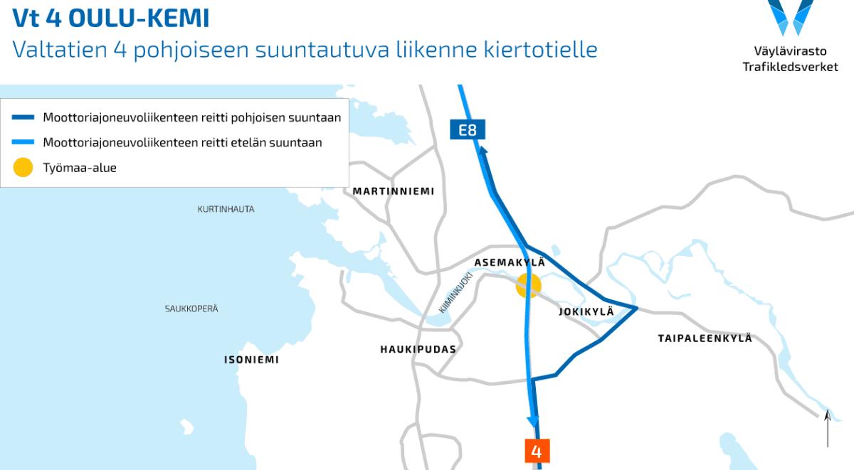 Kiiminkijoen siltatyömaan ohitustie 12.-13.7.2021