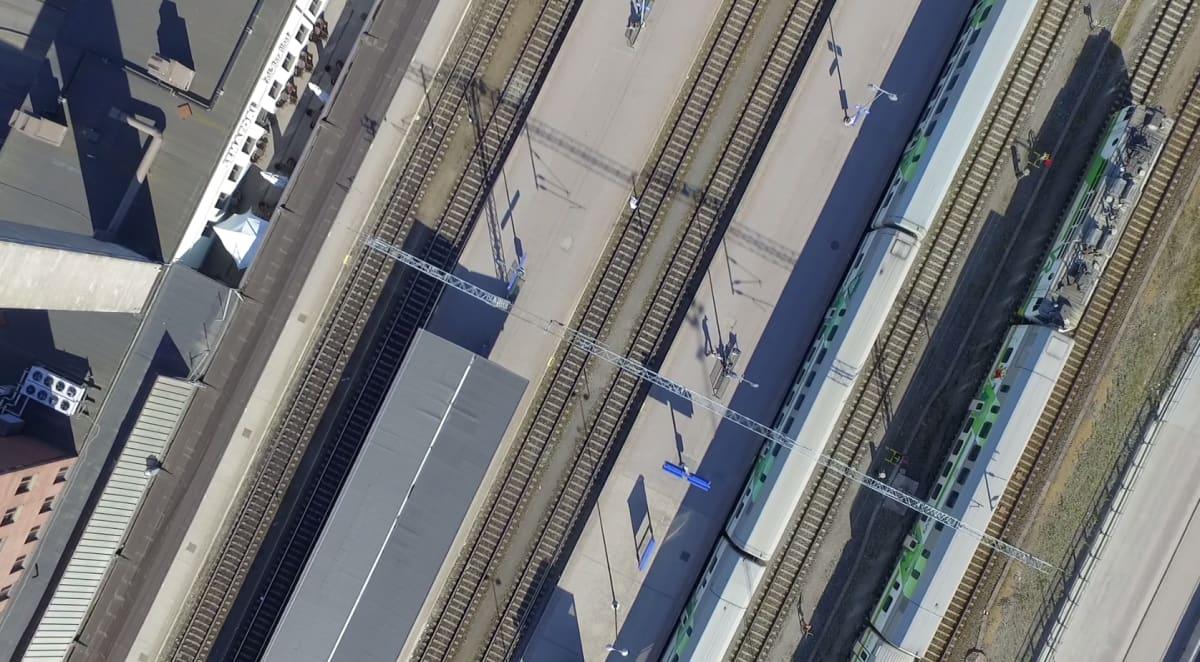 Ilmakuva Tampereen rautatieasemasta