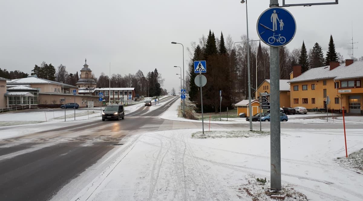 Talvinen maisema Savitaipaleen keskustasta