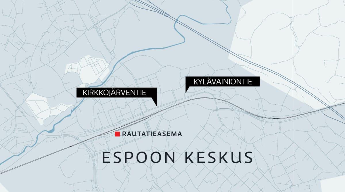 Kartta Espoon keskuskesta