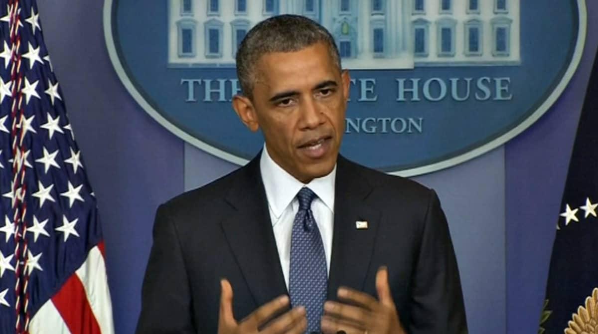 Yhdysvaltain presidentti Barack Obama puhui Valkoisessa talossa 1. elokuuta.