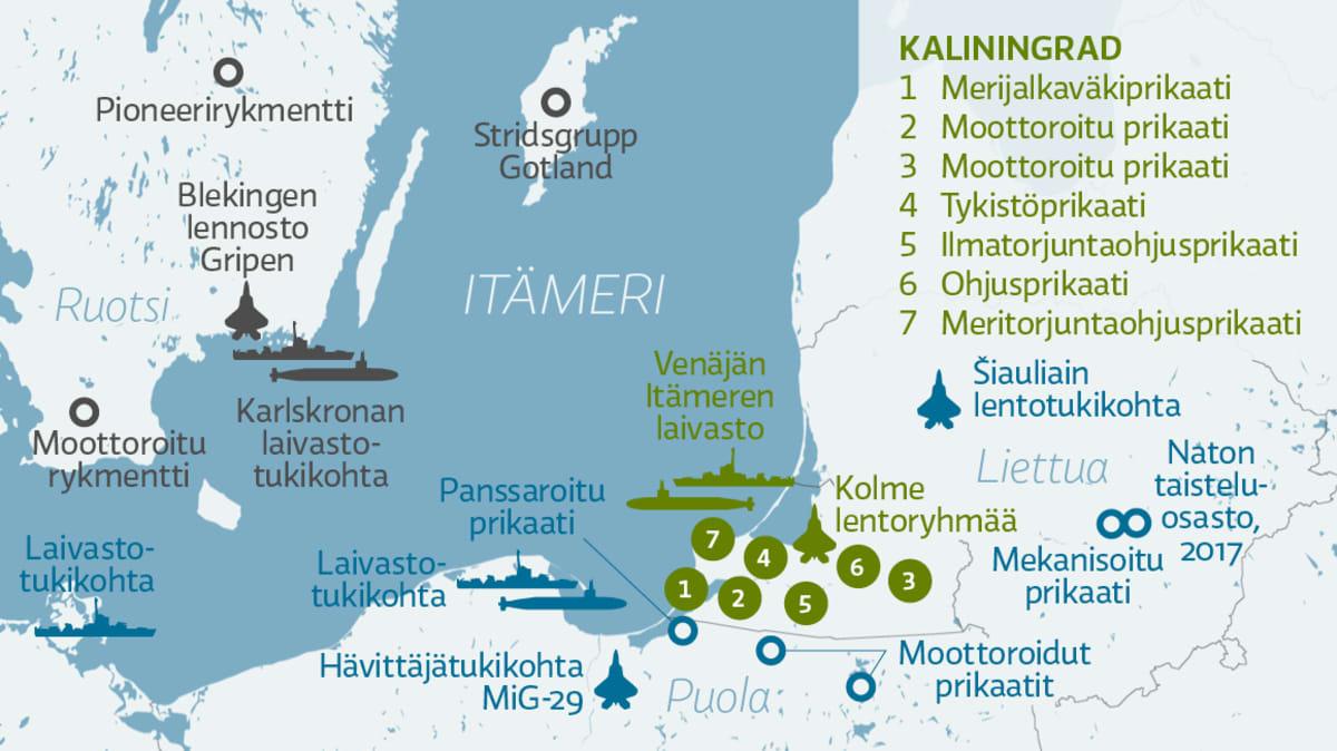 Itämeren ja lähi-alueen merkittävimmät joukko-osastot.