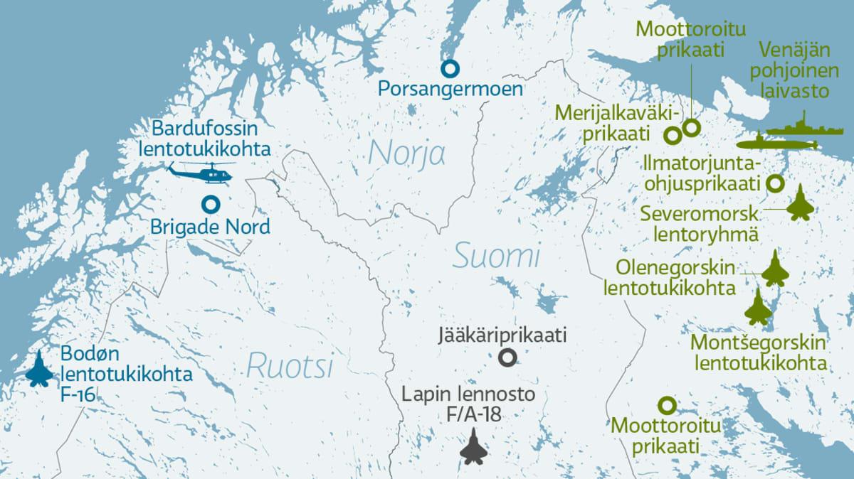 Pohjois-Suomen ja lähialueen merkittävimmät joukko-osastot.