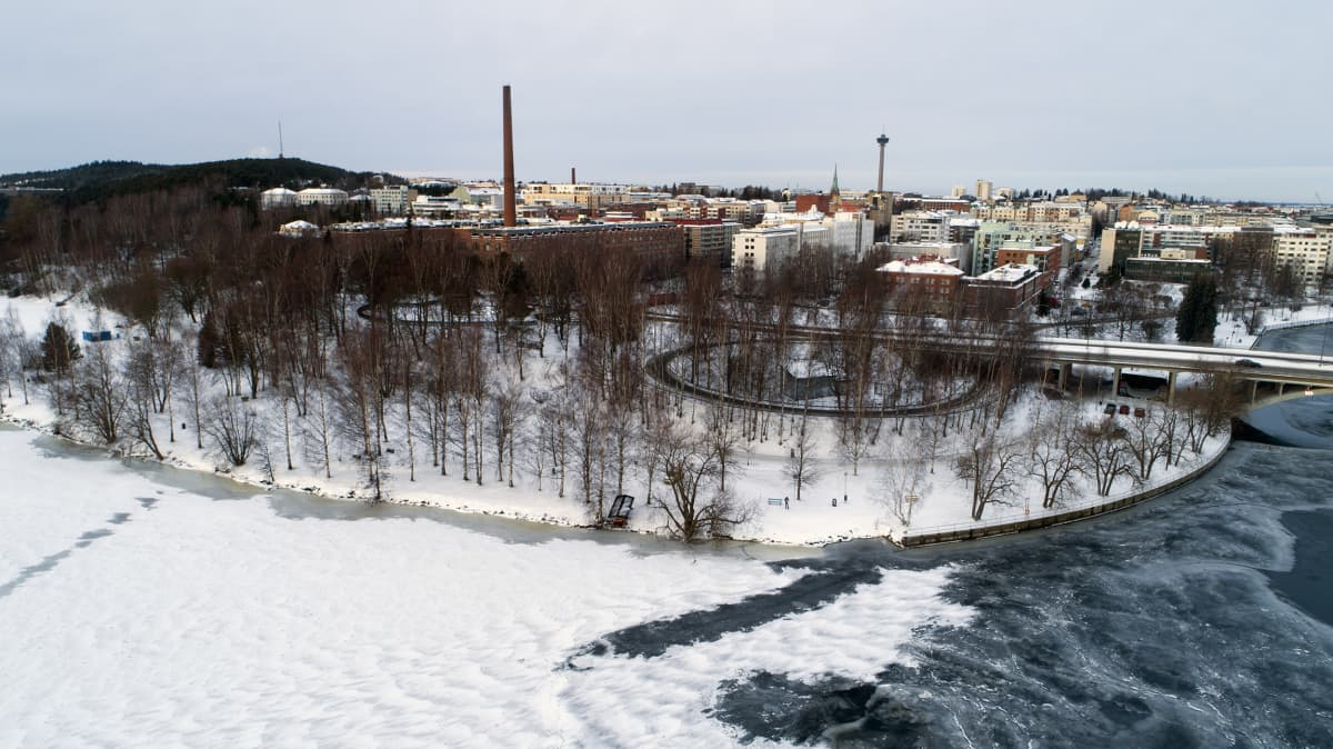 Tampereen Eteläpuisto ilmasta kuvattuna.