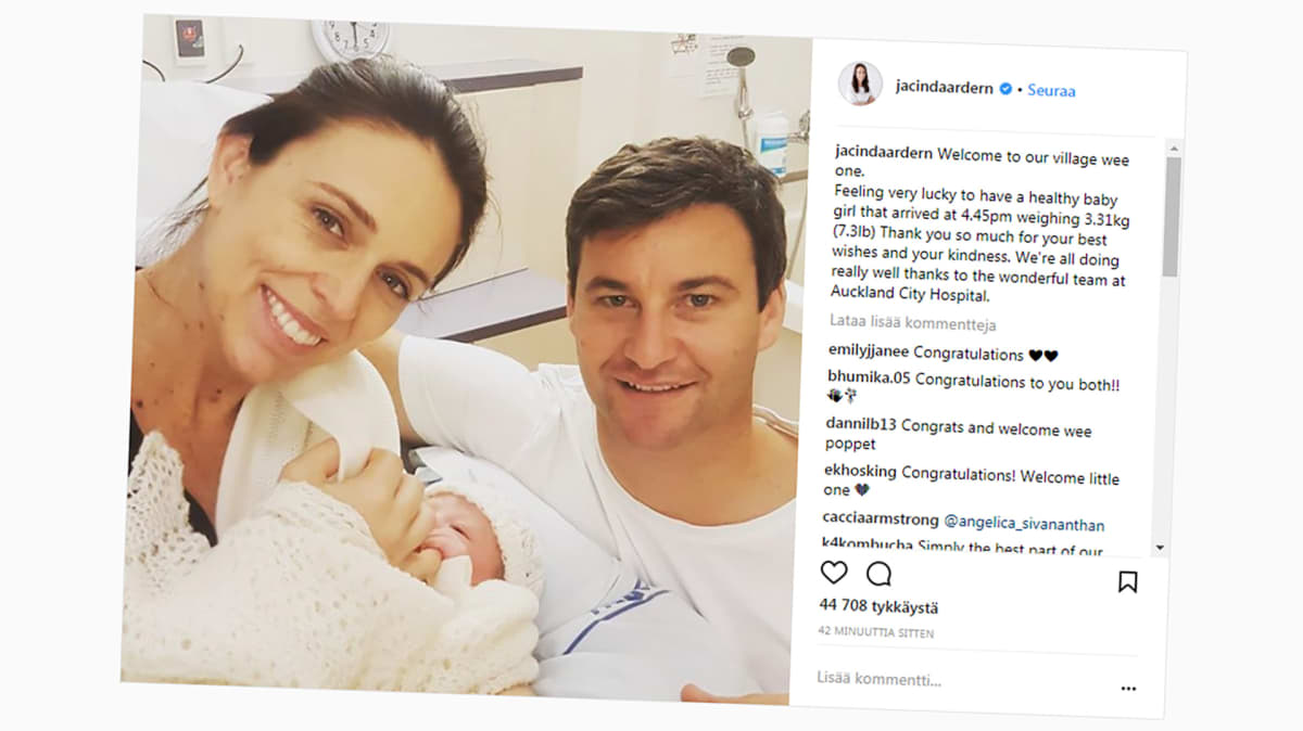 kuvakaappaus instagramista Jacinda Ardernin vauvasta ja vanhemmista