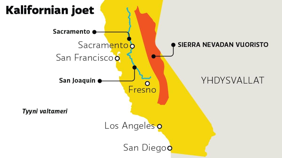 Karttagrafiikka, jossa Kalifornian jokia ja kaupunkeja.