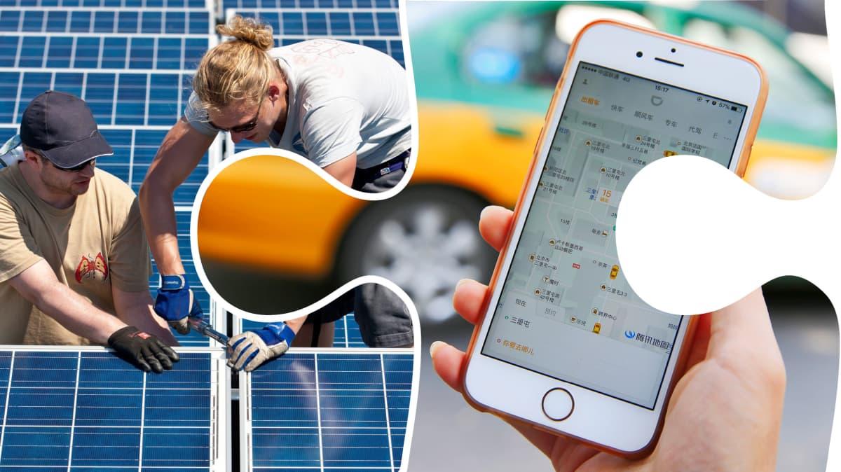 Lohkoketjuteknologia, aurinkosähköä ja jakamistaloutta.