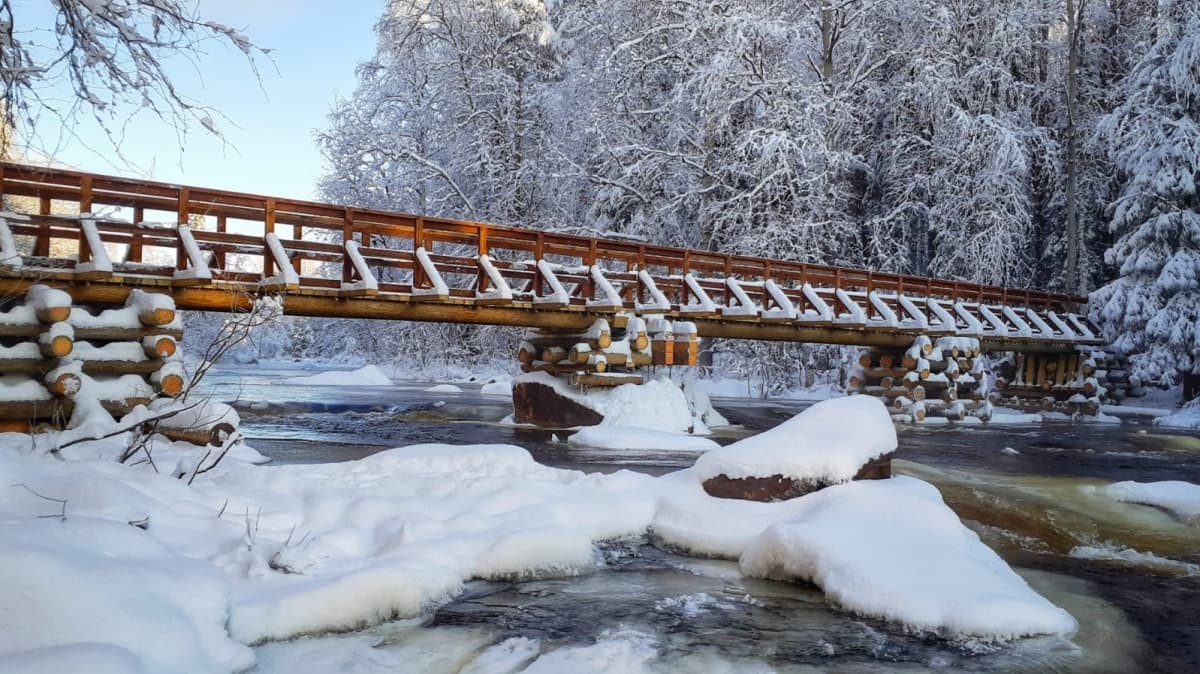 Napapiirin retkeilyalueen uusi silta.
