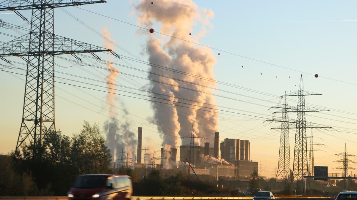 Kuvassa etualalla voimalinjoja. Niiden takana hiilivoimala, jonka piipuista nousee savua.
