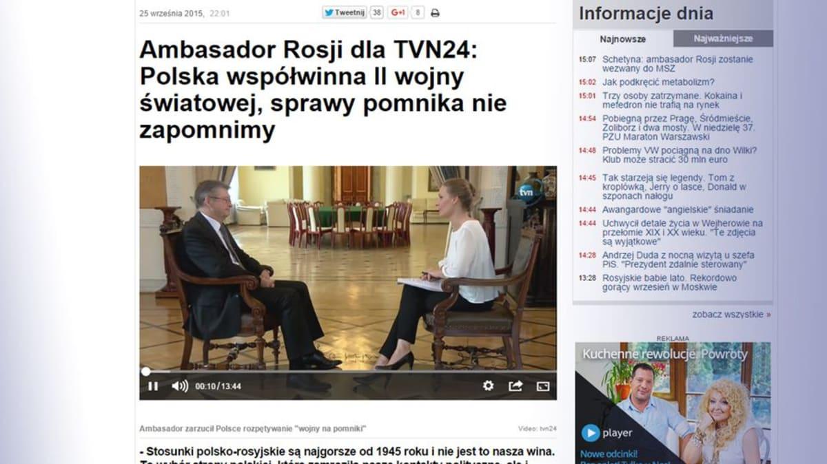 Kuvakaappaus TVN24-televisiokanavan sivuilta.
