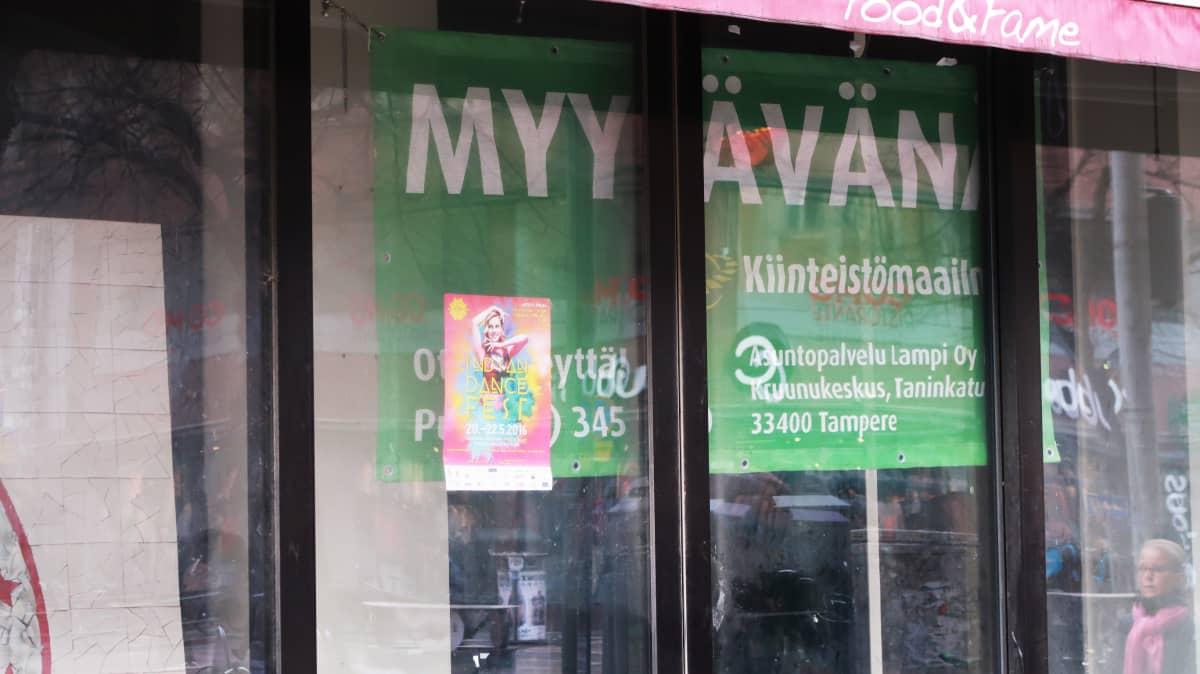 Myytävänä oleva liiketila Tampereen Hämeenkatu 10:ssä