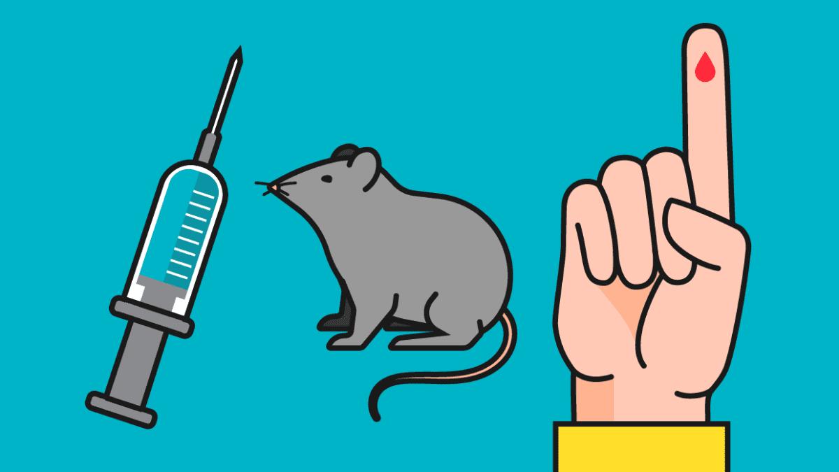 Kuvitus. Injektioneula, hiiri ja sormi