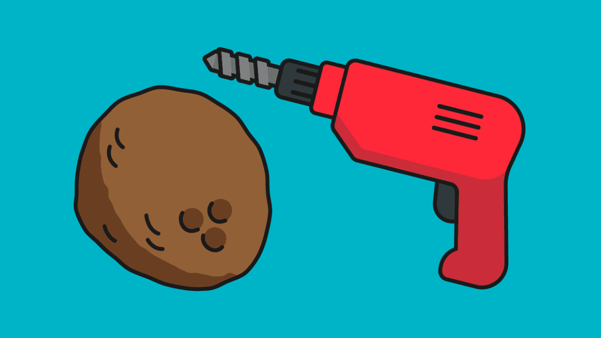Kuvitus. Kookospähkinä ja pora.