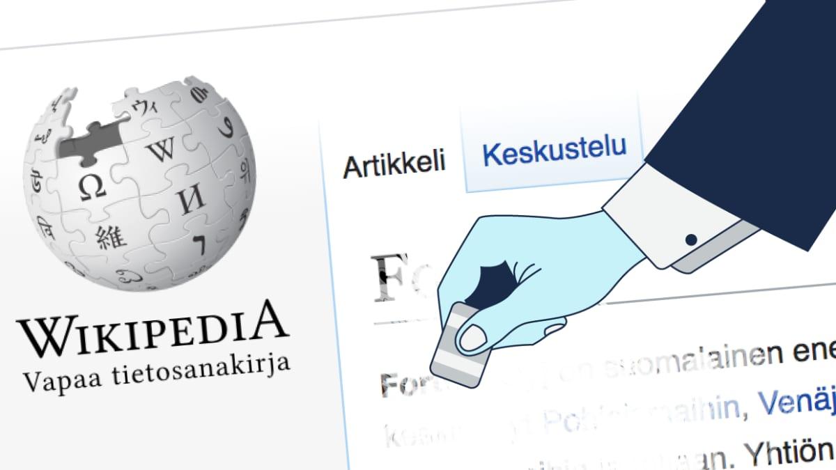 Käsi pyyhkii Wikipedia-artikkelia pyyhekumilla