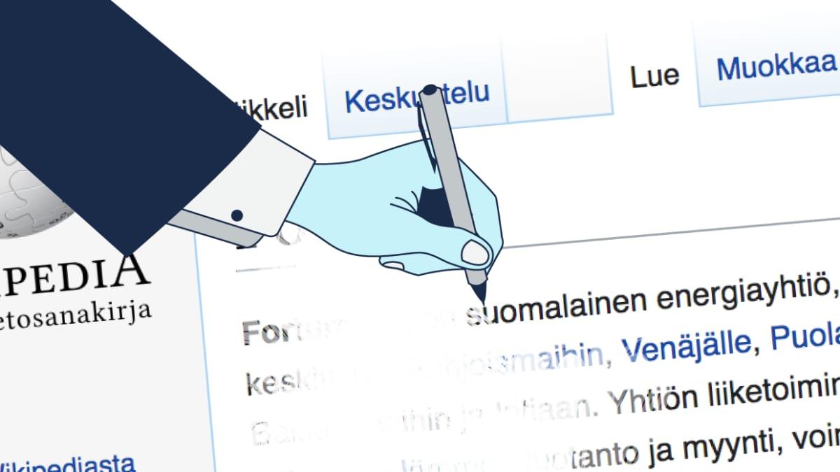 Käsi kirjoittaa kynällä Wikipedia-artikkeliin