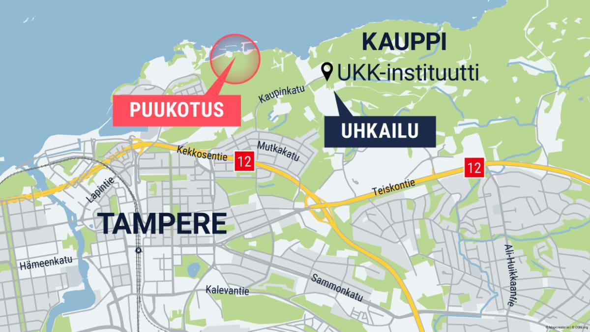 Kuvassa on puukotuksen tapahtumapaikka Tampereen kartalla