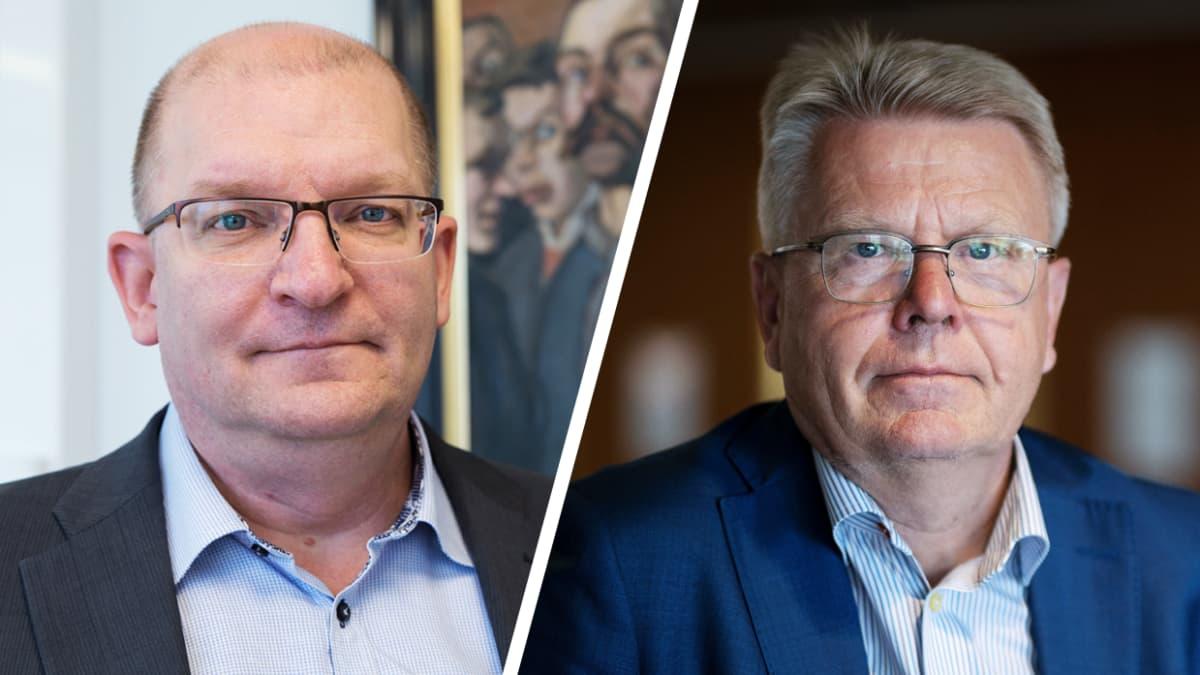 Teollisuusliiton puheenjohtaja Riku Aalto ja Elinkeinoelämän keskusliiton toimitusjohtaja Jyri Häkämies