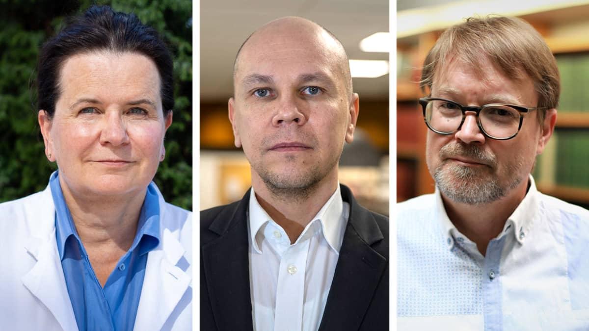 HUSin apulaisylilääkäri Eeva Ruotsalainen, Rokotetutkimuskeskuksen johtaja Mika Rämet, virologian professori Olli Vapalahti.