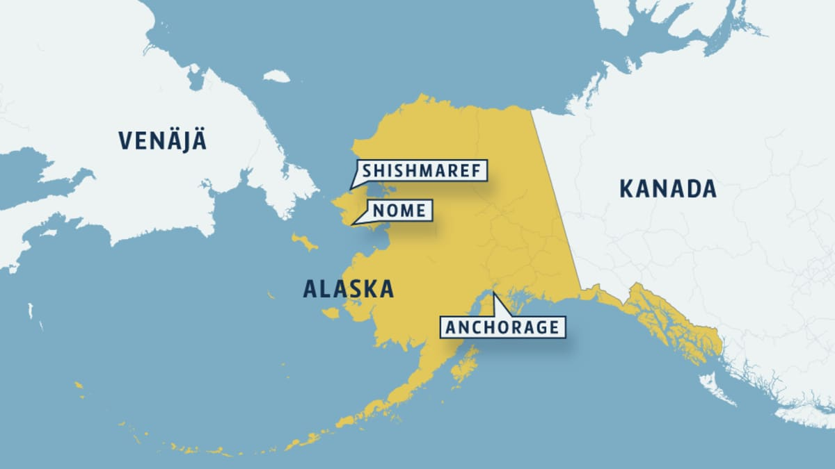 Kartta, johon merkitty Alaska, Venäjä sekä Kanada.