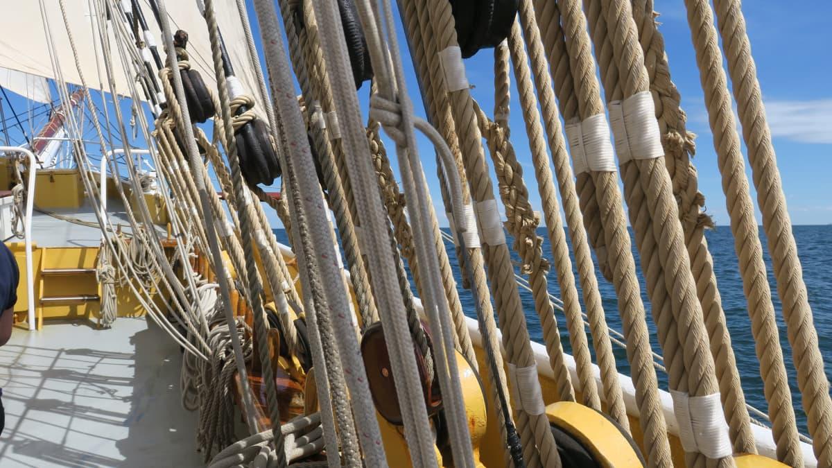 Pelkästään yhdellä puolella etummaisessa mastossa kulkee hurja määrä köyttä
