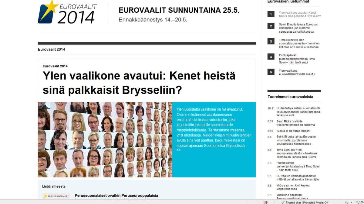 Kuvakaappaus Ylen vaalikoneen esittelysivusta