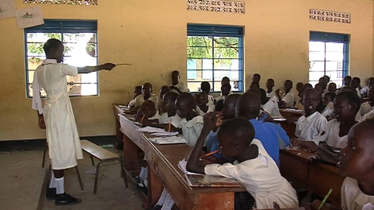 Opettaja ja lapsia koululuokassa.