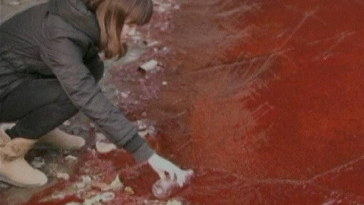 Tyttö ottamassa pulloon punaista vettä joesta