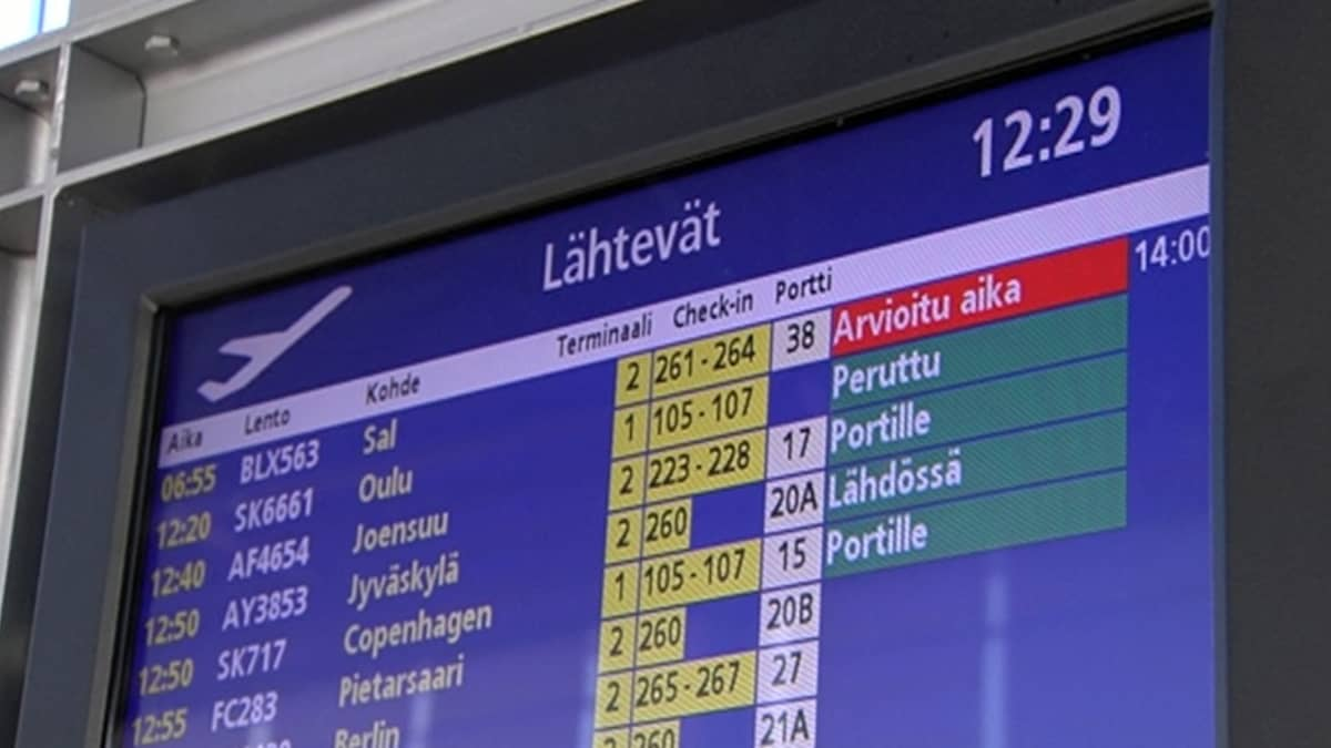 Lentoliikenteen infonäyttö lentoasemalla.