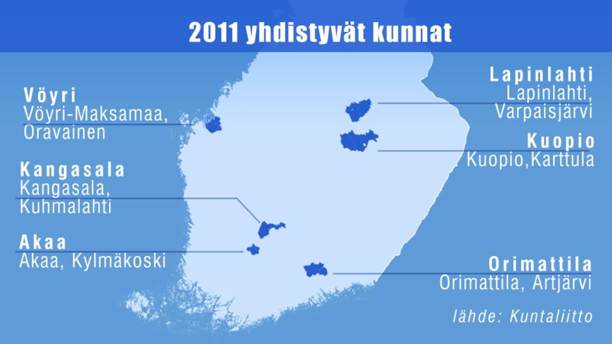 Kuntaliitokset Suomen kartalla.