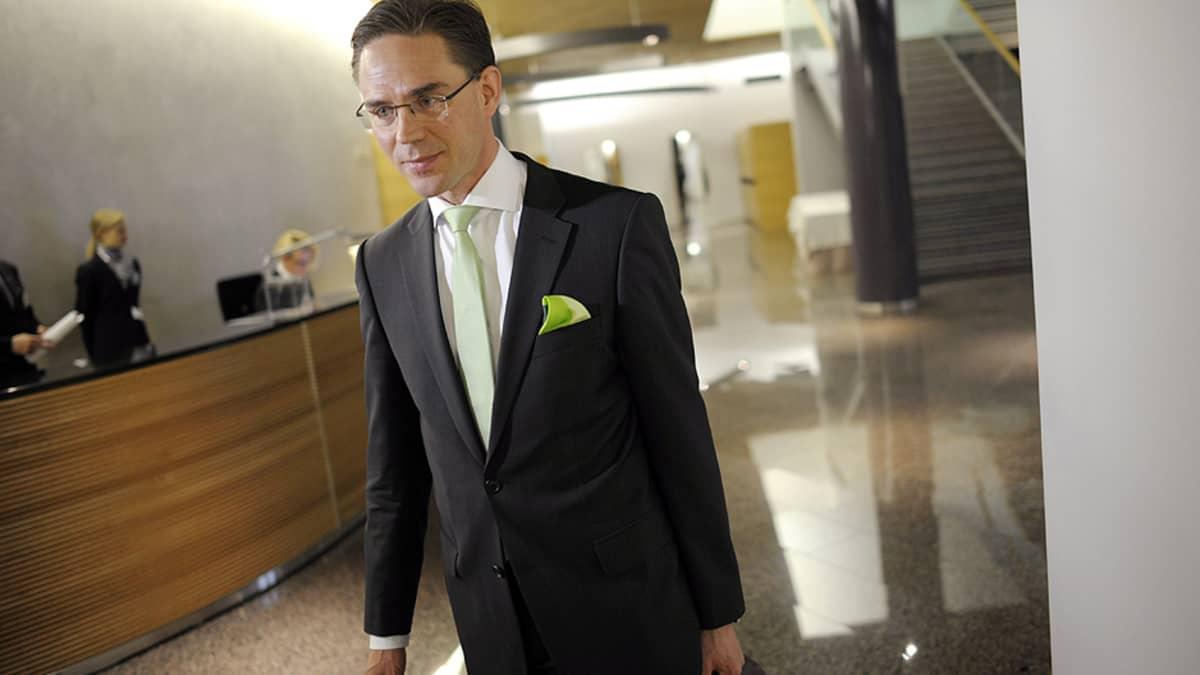 Pääministeri Jyrki Katainen saapui suuren valiokunnan kuultavaksi Helsingissä 23. toukokuuta.