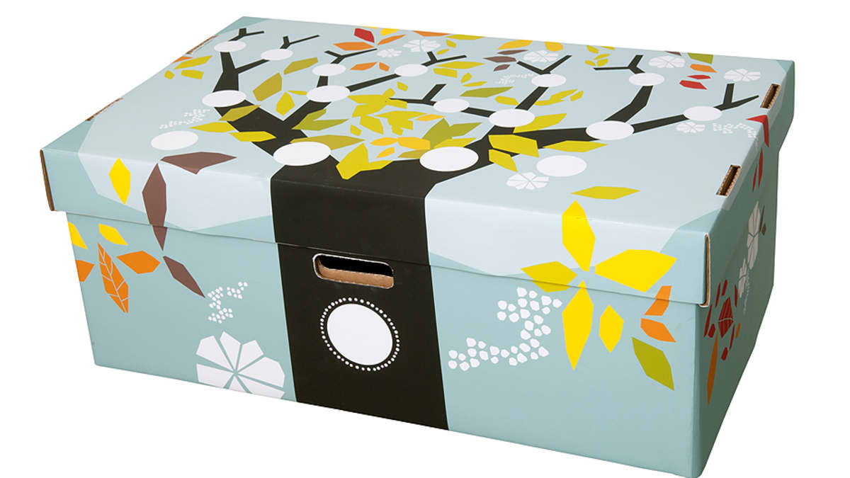 Vuoden 2011 äitiyspakkauksen laatikko.