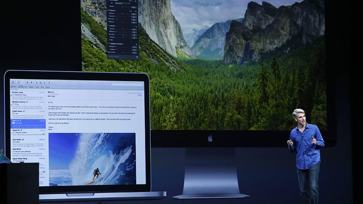Applen varapääjohtaja Craig Federight esittelee yhtiön uuden käyttöjärjestelmään ominaisuuksia.