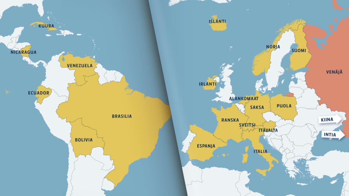 Wikileaks-sivuston mukaan Snowden on lähettänyt turvapaikkahakemuksen kaikkiaan 21 maahan. Venäjälle tehty hakemus on peruttu, kertoi Kreml tänään.