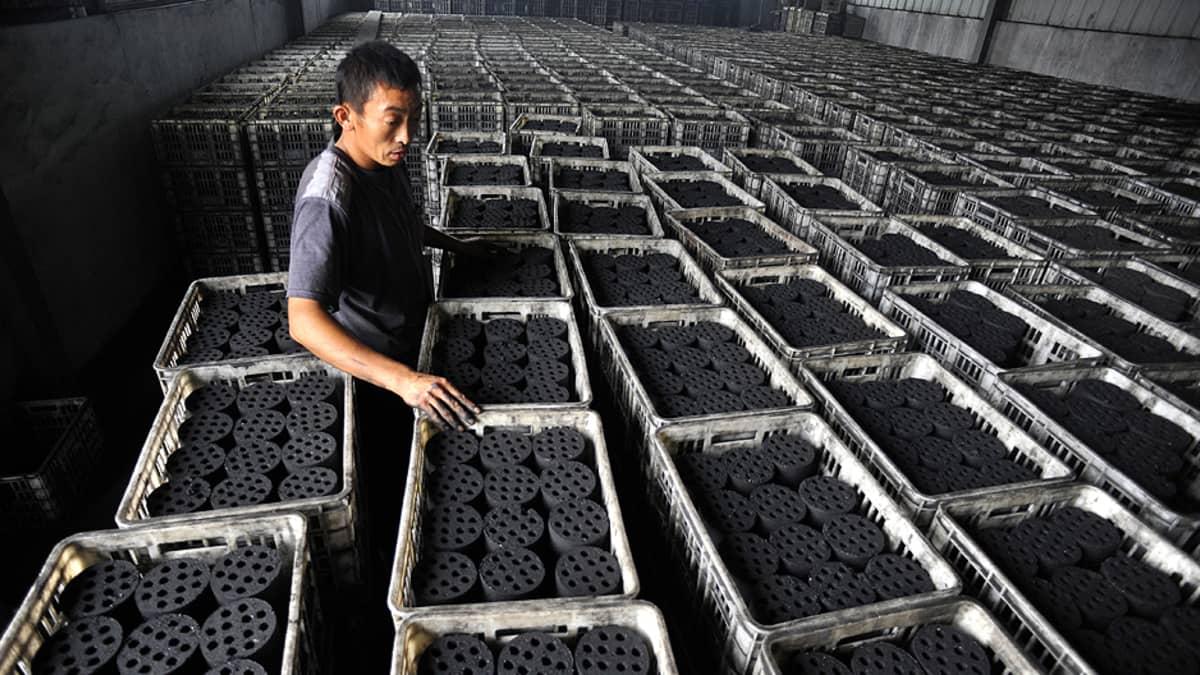 Työntekijä lajittelee lämmitykseen käytettäviä hiilibrikettejä tehtaalla.