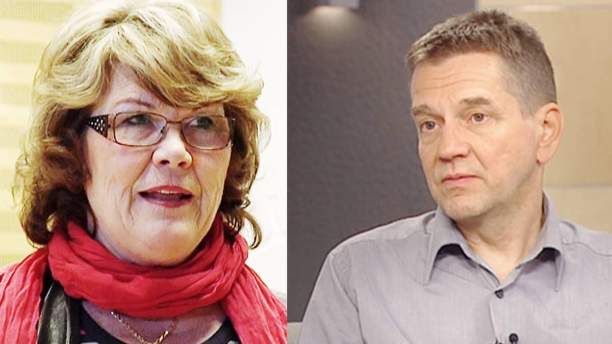 Kirjailijat Tuula Kallioniemi ja Olli Jalonen.