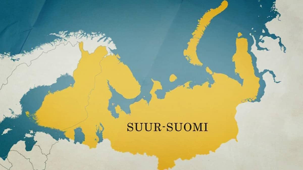 Kartta Suur-Suomi-suunnitelmasta.