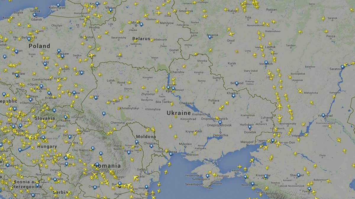 Kuvakaappaus Flightradar24-sivustosta.