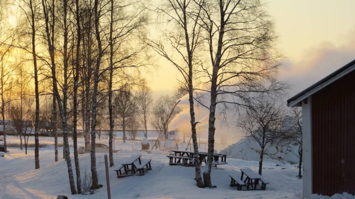Vuoden 2016 Lumilinna valmistumassa Kemin sisäsatamassa, lumitykki laulaa.