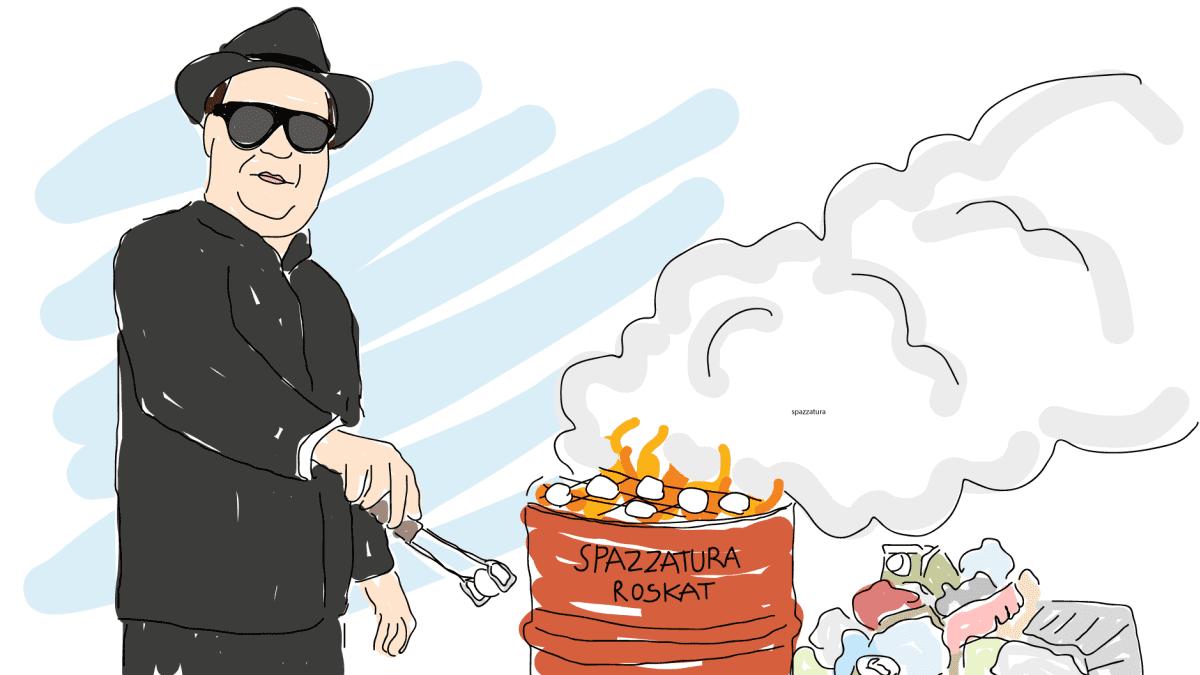 Mozzarellaa savustetaan jätteillä -piirros