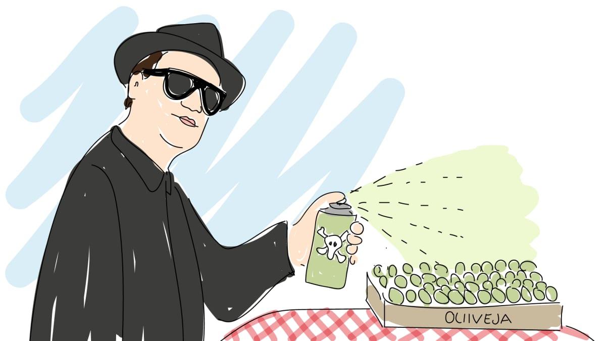 Oliveja värjätään -piirros