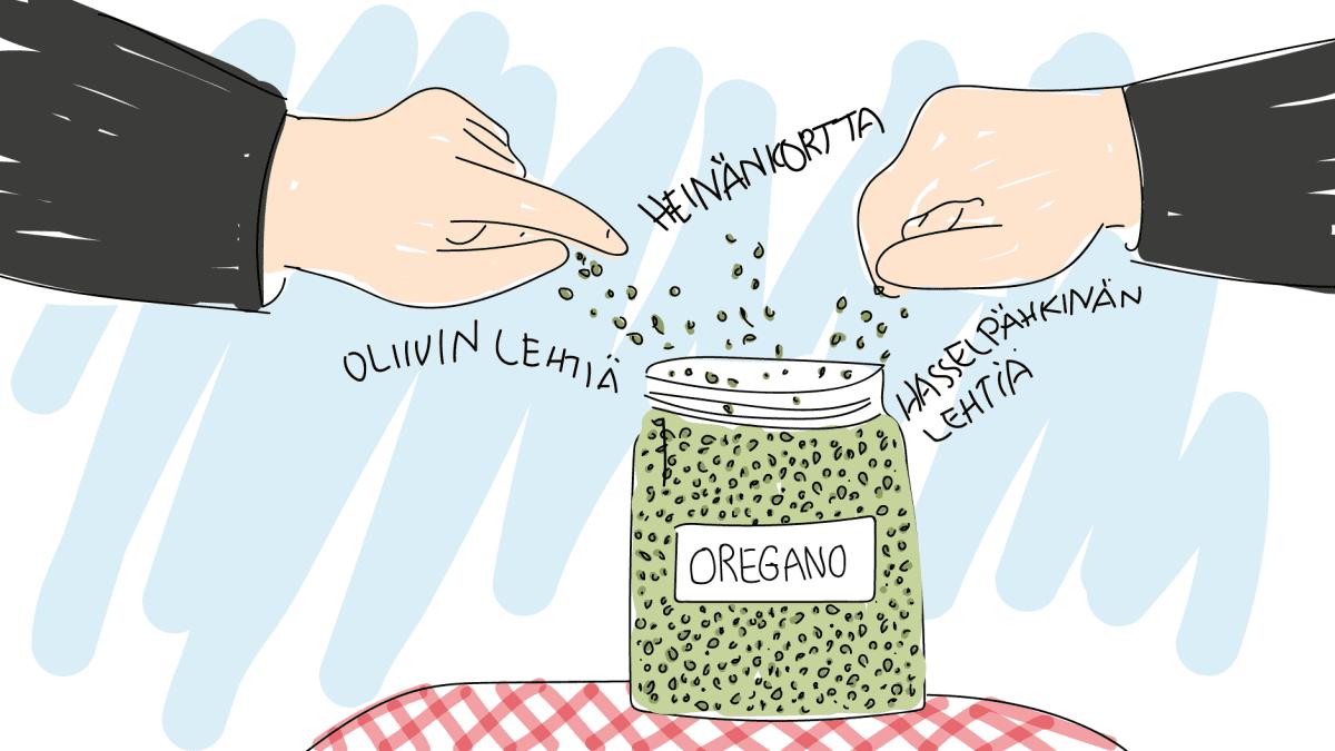 Oliivin lehtiä, heinänkortta ja hasselpähkinän lehtiä oreganona -piirros