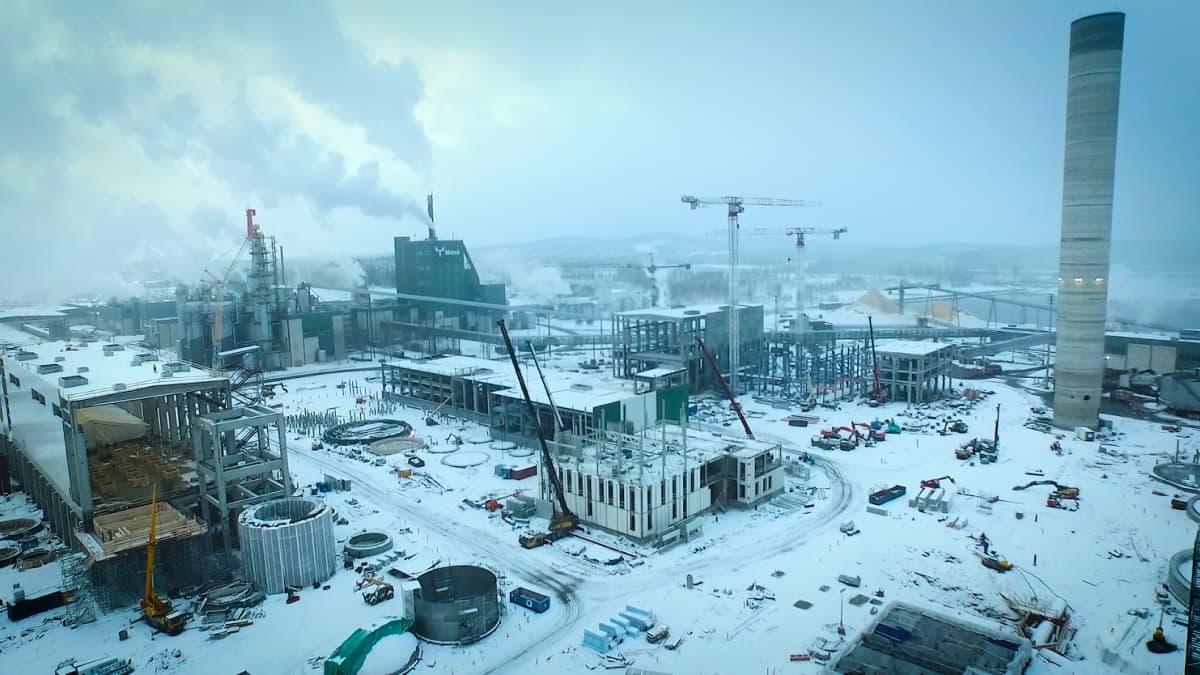 Äänekosken biotuotetehtaan rakennustyömaa helmikuussa 2016.