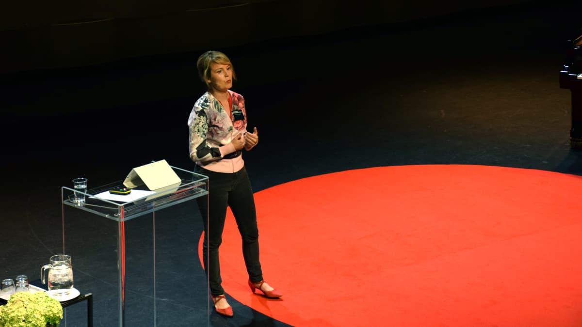 Mari K. Niemi puhumassa Retoriikan kesäkoulun seminaarissa Hämeenlinnassa.