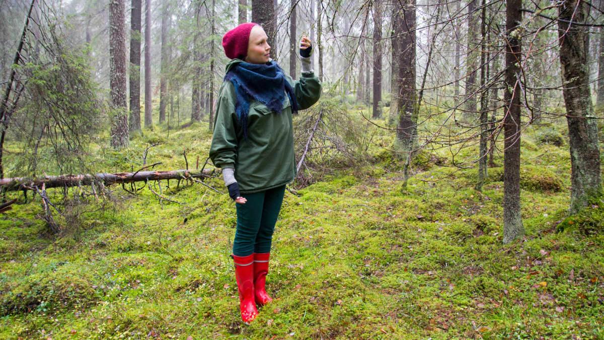 Nainen katsoo metsän puissa olevia sadepisaroita.