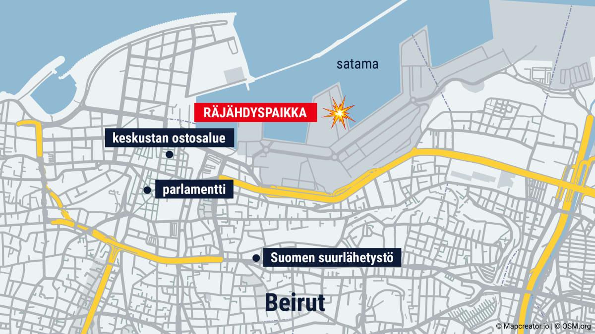 Kartta Beirutin kaupungista. Kartalla räjähdyspaikka, keskustan ostosalue, parlamentti ja Suomen suurlähetystö.