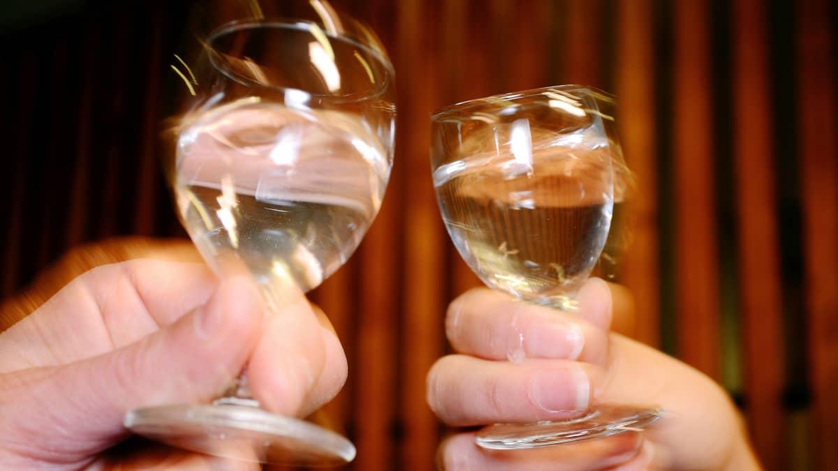 Kaksi ihmistä skoolaa laseilla.