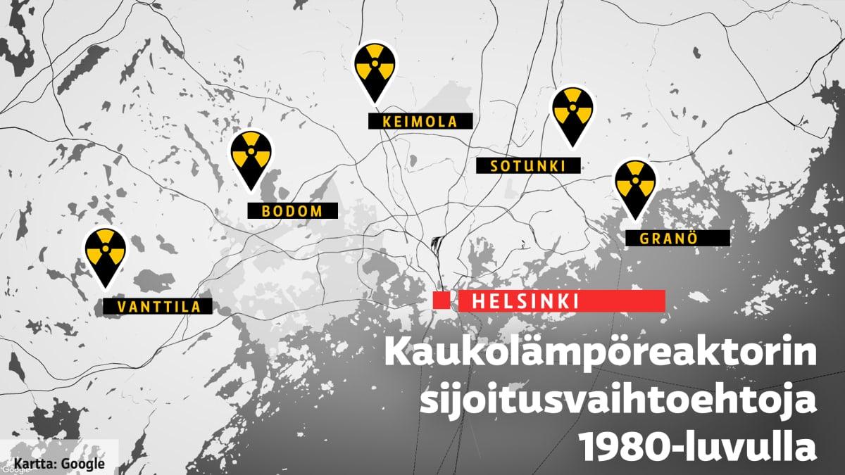 Kaukolämpöreaktorin sijoitusvaihtoehtoja 1980-luvulla pääkaupunkiseudulla: Vanttila, Bodom, Keimola, Sotunki ja Granö.