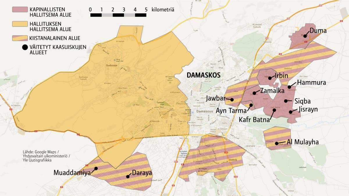 Syyria Damaskos väitetyt kaasuiskujen kohtee